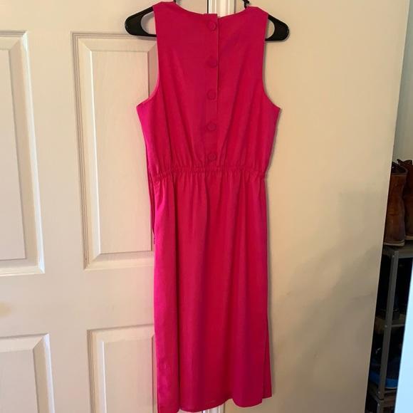 JCREW pink button back midi dress
